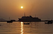Ferry at harbour of Samos at sunset - island of Samos - Eastern Sporades islands - Greece