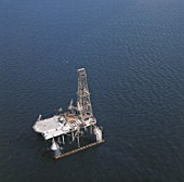 Aerial - off shore oil platform (near the town of Stavanger) - Norway