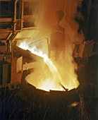 Furnace, Pouring Molten Steel in Foundry