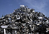 Aluminium scrap collected for recycling
