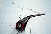 Local train (company: Furka - Oberalp) at Oberalp pass, Swiss Alps, Canton of Uri, Switzerland