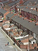 Terraced housing, Moss Side, Manchester, United Kingdom.