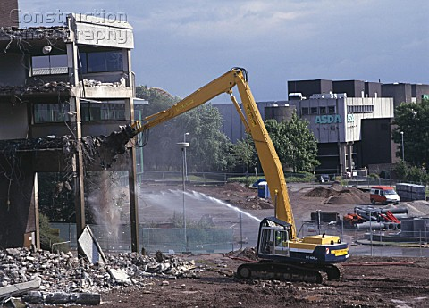 Demolition of reinforced concrete frame buildings in Cwmbran for redevelopment of town centre  Water