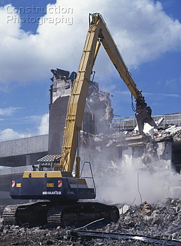 Demolition of reinforced concrete frame buildings in Cwmbran for redevelopment of town centre using