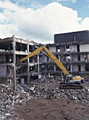 South Wales, Cwmbran. Demolition of an old office block within the Town centre