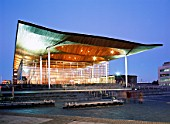 Welsh Assembly Government building, Wales, UK. The Assembly building in Cardiff Bay built with a holistic approach has received the Building Research Establishments (BRE) highest award for sustainable building construction. The building, designed by Richard Rogers Partnership, BDSP Partnership and Arup and constructed by Taylor Woodrow Construction Ltd, was awarded a BREEAM ÔExcellentÕ Rating as being in the very highest category of sustainable building.