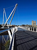 The iconic £5 million Newport City Footbridge was opened in September 2006.  The foot and cycle bridge is 70m (229ft) high and spans 145 metres (476 ft) across the River Usk, connecting the city centre to Rodney Parade on the east bank.  Access from the east is improved for pedestrians and cyclists, encouraging more environmentally friendly modes of transport to help Newport become greener and cleaner.