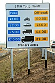 Toll fees on the new M6 motorway. The M6 Toll opened in December 2003. Birmingham area, England.