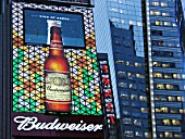 Economy USA: BUDWEISER billboard at Times Square in Manhattan, New York City. BUDWEISER is a trademark of ANHEUSER-BUSCH brewery company