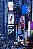 Economy USA: advertising and billboards at Times Square in Manhattan, New York City