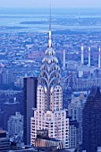 Aerial view of the top of Chrysler building, New York, USA