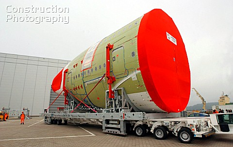 Airbus Industrie Hamburg Germany Cockpit being transported to Toulouse in France for assembling