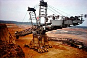 Brown coal digger, open cast mining, North Rhine, Germany