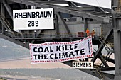 Brown coal open cast mining, North Westphalia. Greenpeace activists occupying the coal digger in Dueren / Luftaufnahme.