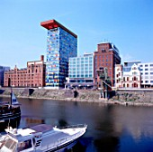 New buildings on the Dusseldorf habour, Germany. The Colorium is one of the building part of the extensive regeneration program of the defunct harbour into a media centre. Alsop Architects. Structural engineer: Arup