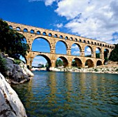 Aqueduct Pont du Gard, Gardon river, near Nimes, South of France, Languedoc Rousillon.
