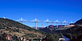 The 2.5 km Millau Viaduct, France, is the highest bridge in the world. Each of its sections spans 350 meters and its columns range in height from 75 meters to 235 meters - higher than the Eiffel Tower - with the masts rising a further 90 meters above the road deck. Designed by Foster and Partner.