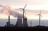 Windfarm in front of a coal fired power plant, Mehrum, Niedersachsen, Germany.