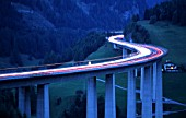 The Brenner Highway at dawn. This is the most important road over the Central Alps. It connects Austrias Tyrol region with Southern Tyrol region in Italy and requires a toll-charge.