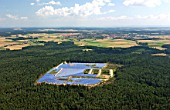 Solar technology in Hemau, Bayern, the worlds biggest area for solar energy. Constructed in 2002, Germany. The total module area amounted to 34. 960qm3