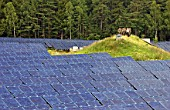 Solar technology in Hemau, Bayern, the worlds biggest area for solar energy. Constructed in 2002, Germany. The total module area amounted to 34. 960qm4