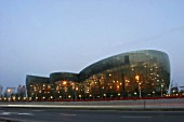 Shanghai Oriental Art Center - outside view of the concert hall in Pudong, China.