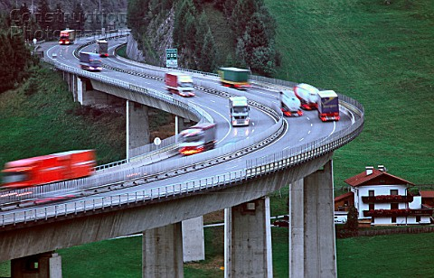 Austria Brenner motorway bridge near the village of Gries The Brenner motorway is the most important