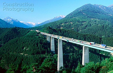 Austria Brenner Autobahn bridge near village of Gries the Brenner Freeway is the most important thro