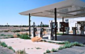 USA, California: Abandoned gas station along Route 66 in Newberry Springs.