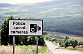 Road sign warning about speed-control cameras in New Galloway, Scotland, United kingdom.