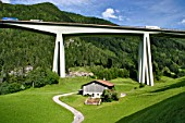 Brenner Motorway Viaduct at Gossensaas, Southern Tyrol, in the Alps, Italy. The Brenner motorway bridge is the most important throughway over the central Alps and connects the Austrian region of Tyrol with Italys  Southern Tyrol. The Brenner viaduct has a toll charge.