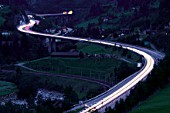 Gotthard motorway near Wassen. The Gotthard Freeway is one of the most important Transalpine roads.