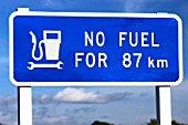 New Zealand: traffic sign, no petrol station for the next 87 kilometers.