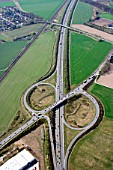 Motorway junction of the A250 and A209, Lueneburg, Niedersachsen, Germany, aerial view