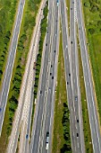 Motorway junction of A1 and A24 east of Hamburg, Germany, aerial view