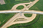 Construction of a new junction linking the new A26 with the existing A7 motorway, Niedersachsen, Lower Saxony, Germany