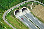 Tunnels of the new A17 motorway, Dresden, Sachsen, Germany, aerial view