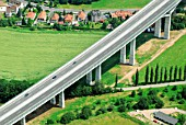 Bridge of the new A17 motorway over Mueglitztal, Dresden, Sachsen, Germany, aerial view