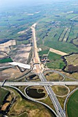 Motorway junction under construction for the A20 and A1, Luebeck, Schleswig-Holstein, Germany, aerial view