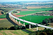 A38 Bridge near Sachsen, Anhalt, Germany, aerial view