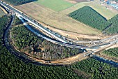 Motorway junction under construction, linking the A10 and A115, Nuthetal, Brandenburg, aerial view
