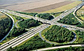 Motorway junction of A4 and A9, Thueringen, Hermsdorf, Germany, Aerial view