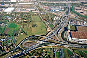 Motorway junction of the A1 and A25, Hamburg, Germany, aerial view