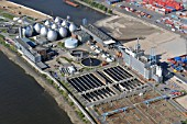 Water treatment plant, Hamburg, Germany, aerial view