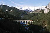 Austria, Semmering Railway by Carl Ritter von Ghega completed 1854, bridge over Kalte Rinne Valley