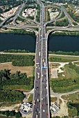 A21 motorway junction and bridge over River Danube on outskirts of Vienna, Austria