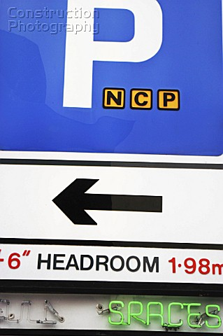 NCP sign giving information on access to its car park