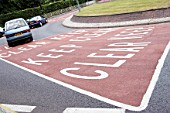 Road markings on a roundabout