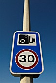 Speed Limit and CCTV Road Surveillance sign, UK