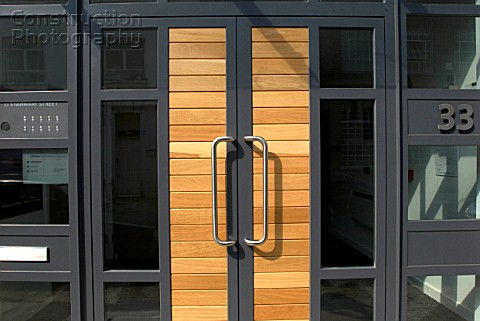 Entrance door to modern office UK